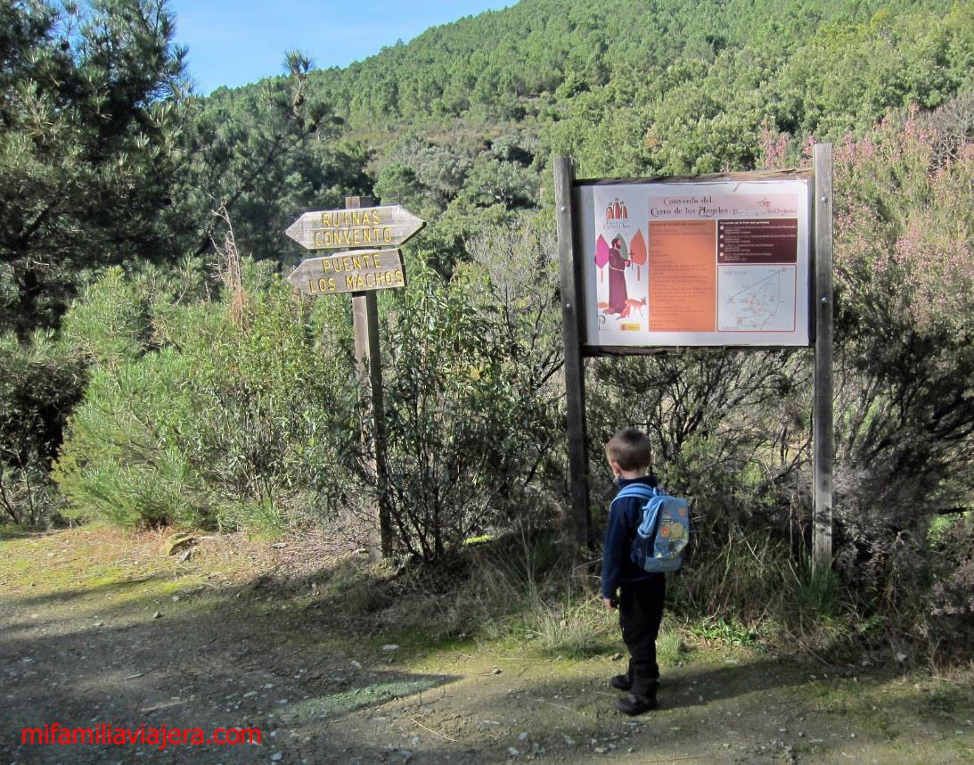Panel informativo Ruinas del Convento de los Ángeles y el Puente de los Machos, Ovejuela, Las Hurdes