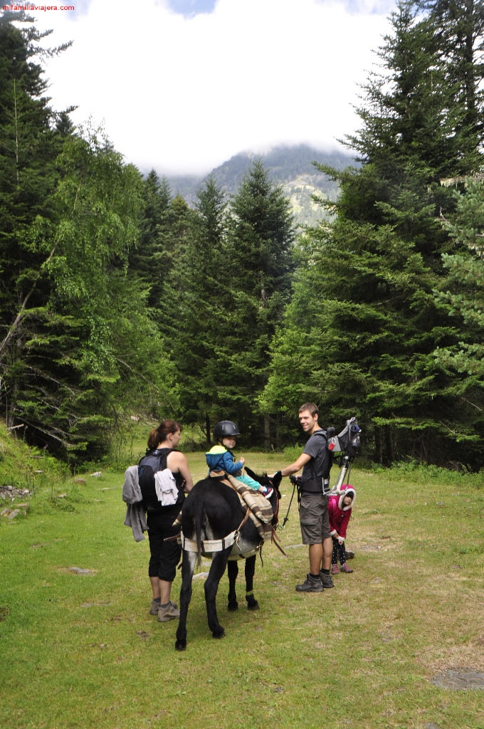 Familias haciendo la ruta en burro